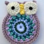 Crochet Pink Owl Brooch