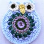Crochet Owl Brooch