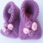 Pink Knitted Flower Slippers