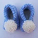 Blue Knitted Pom Pom Slippers