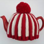 Red & White Knitted Tea Cosy