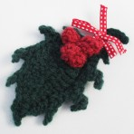 Crochet Holly Brooch