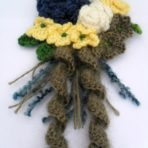 Crochet Flower Bouquet Brooch